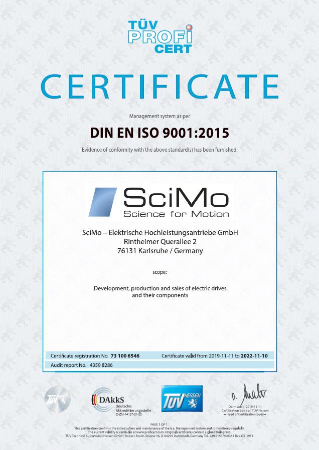SciMo Iso 9001, Zertifizierung